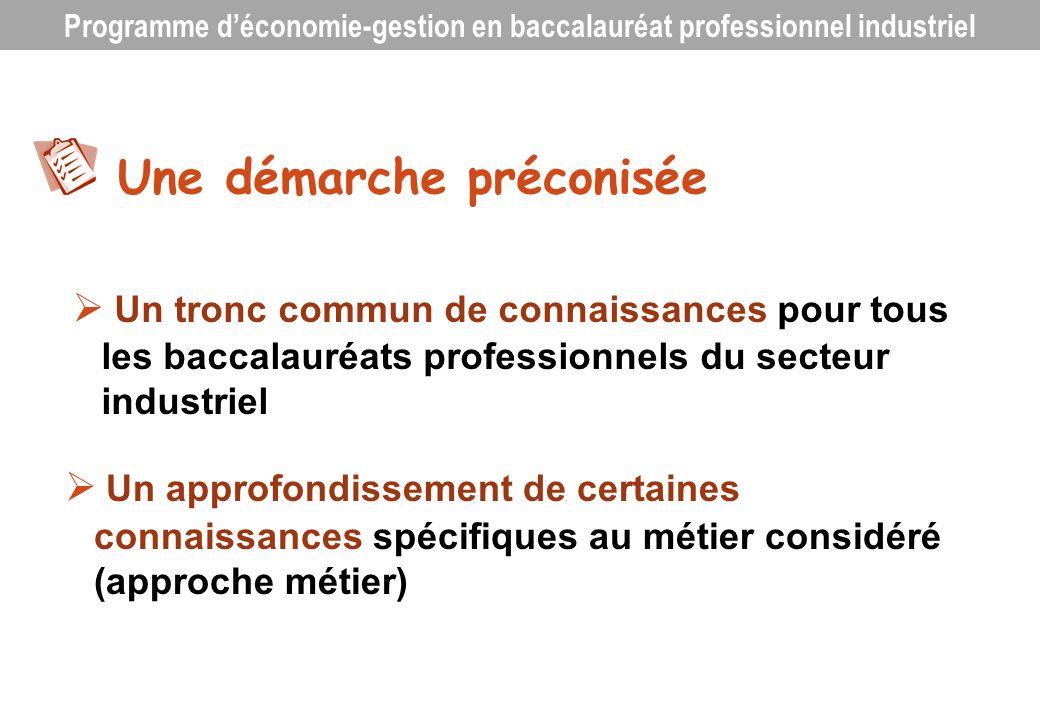 Un programme structuré Axe 1 : Le contexte professionnel Thème 1.1 : Un secteur professionnel, une diversité de métiers Thème 1.2 : La diversité des organisations, leur finalité et leur réalité Thème 1.3 : Les domaines dactivités des organisations Thème 1.4 : Lenvironnement économique, juridique et institutionnel Axe 2 : Linsertion dans lorganisation Thème 2.1 : La recherche demploi Thème 2.2 : Lembauche et la rémunération Thème 2.3 : La structure de lorganisation Thème 2.4 : Les règles de vie au sein de lentreprise Axe 3 : Lorganisation de lactivité Thème 3.1 : Lactivité commerciale Thème 3.2 : Lorganisation de la production et du travail Thème 3.3 : La gestion des ressources humaines Axe 4 : La vie de lorganisation Thème 4.1 : Lorganisation créatrice de richesses Thème 4.2 : Les relations avec les partenaires extérieurs Thème 4.3 : La création et la reprise dentreprise Axe 5 : Les mutations et leurs incidences Thème 5.1 : Les mutations de lenvironnement Thème 5.2 : Les mutations de lorganisation Thème 5.3 : Les incidences sur le personnel Programme déconomie-gestion en baccalauréat professionnel industriel