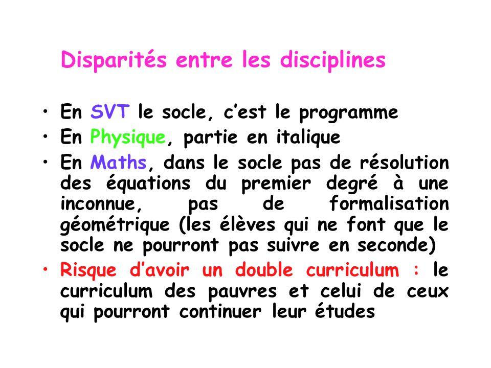 Disparités entre les disciplines En SVT le socle, cest le programme En Physique, partie en italique En Maths, dans le socle pas de résolution des équa