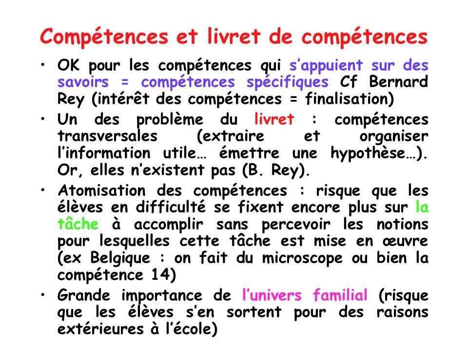 Compétences et livret de compétences OK pour les compétences qui sappuient sur des savoirs = compétences spécifiques Cf Bernard Rey (intérêt des compé