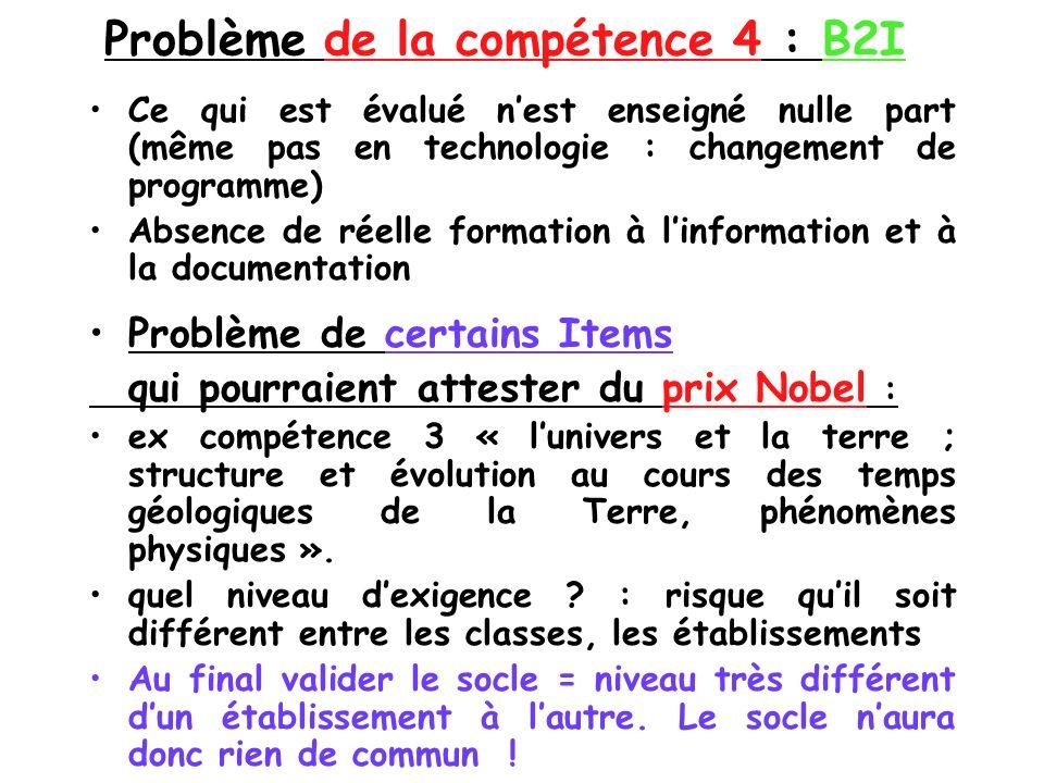 Problème de la compétence 4 : B2I Ce qui est évalué nest enseigné nulle part (même pas en technologie : changement de programme) Absence de réelle for
