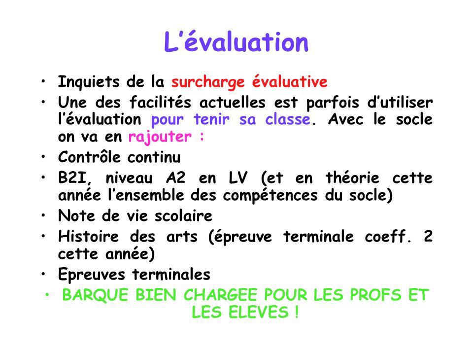 Lévaluation Inquiets de la surcharge évaluative Une des facilités actuelles est parfois dutiliser lévaluation pour tenir sa classe. Avec le socle on v