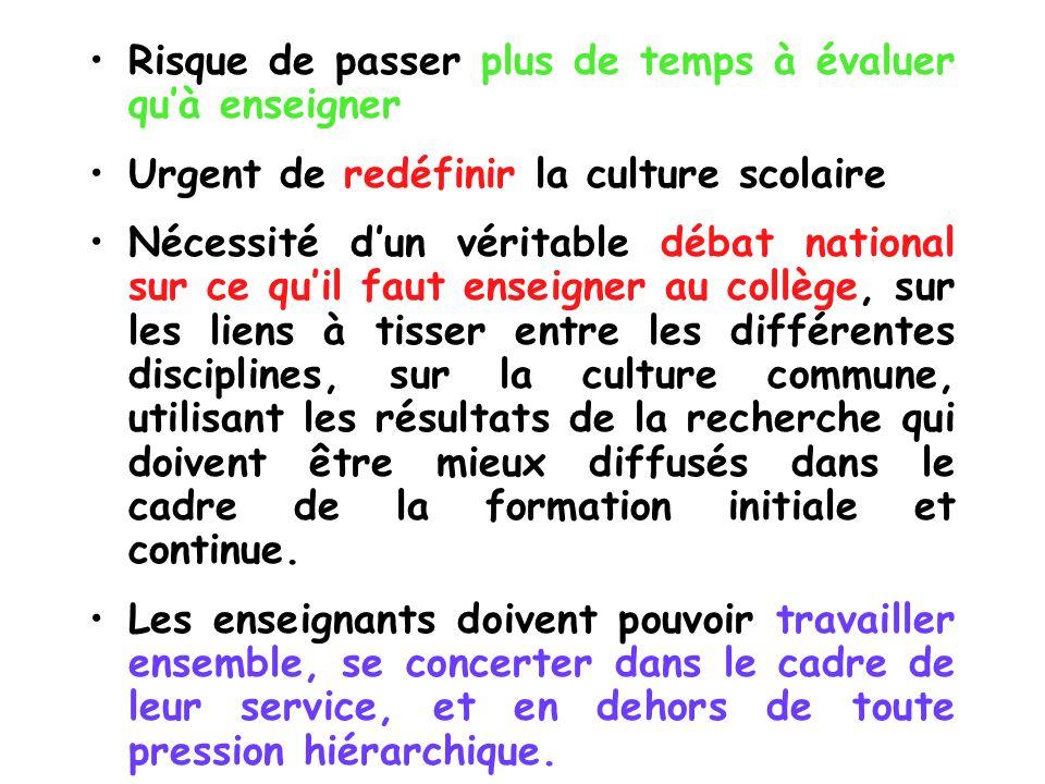 Risque de passer plus de temps à évaluer quà enseigner Urgent de redéfinir la culture scolaire Nécessité dun véritable débat national sur ce quil faut