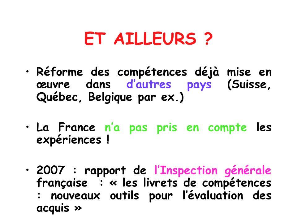 ET AILLEURS ? Réforme des compétences déjà mise en œuvre dans dautres pays (Suisse, Québec, Belgique par ex.) La France na pas pris en compte les expé