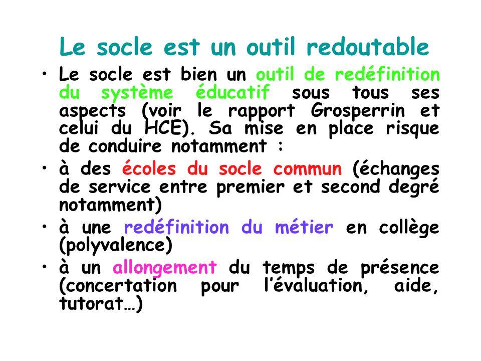 Le socle est un outil redoutable Le socle est bien un outil de redéfinition du système éducatif sous tous ses aspects (voir le rapport Grosperrin et c