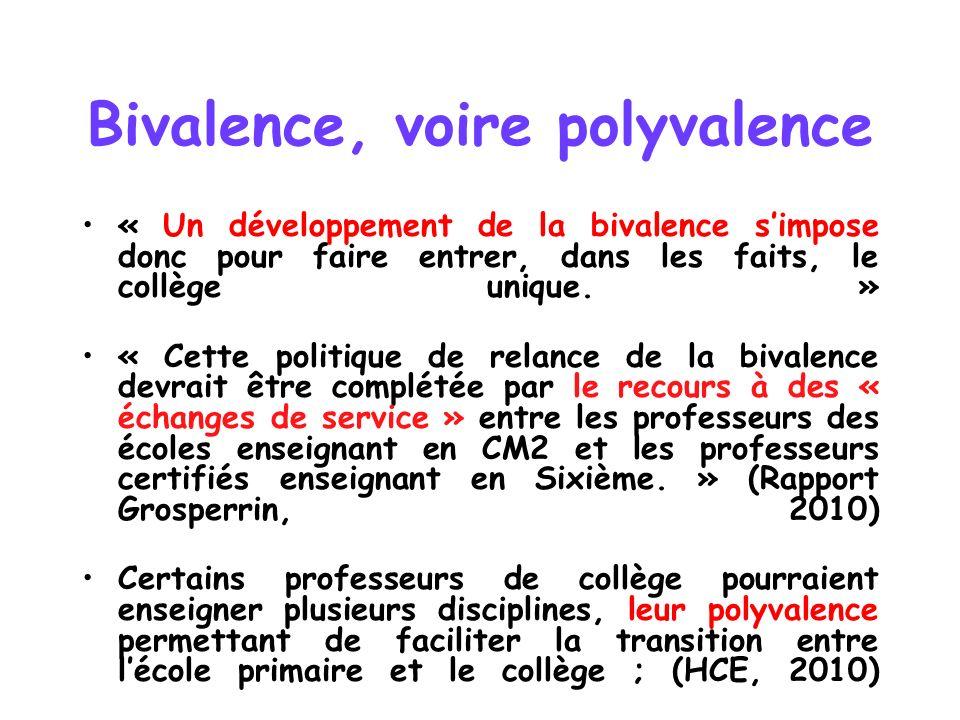 Bivalence, voire polyvalence « Un développement de la bivalence simpose donc pour faire entrer, dans les faits, le collège unique. » « Cette politique