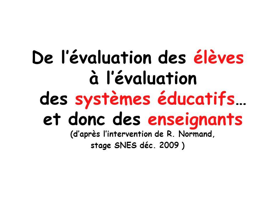 De lévaluation des élèves à lévaluation des systèmes éducatifs… et donc des enseignants (daprès lintervention de R. Normand, stage SNES déc. 2009 )