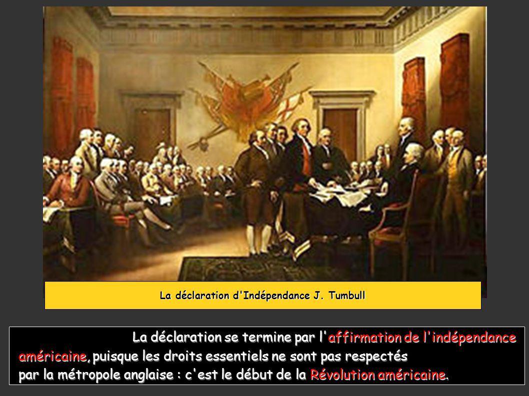 La déclaration se termine par l affirmation de l indépendance La déclaration se termine par l affirmation de l indépendance américaine, puisque les droits essentiels ne sont pas respectés par la métropole anglaise : c est le début de la Révolution américaine.