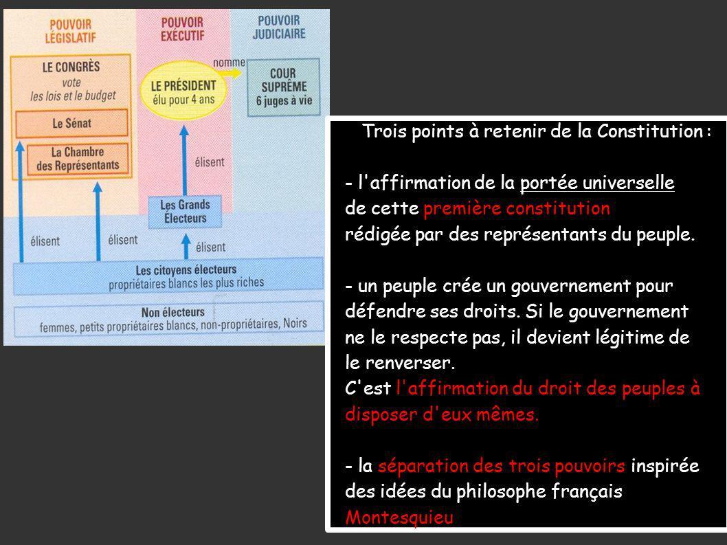Trois points à retenir de la Constitution : - l affirmation de la portée universelle de cette première constitution rédigée par des représentants du peuple.