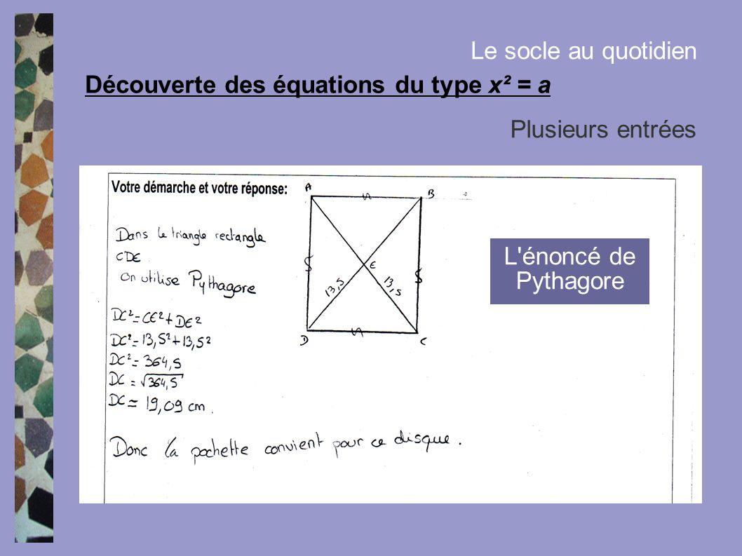 Découverte des équations du type x² = a Le socle au quotidien Plusieurs entrées L'énoncé de Pythagore