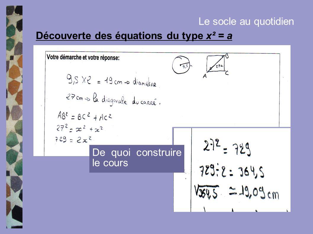 Découverte des équations du type x² = a Le socle au quotidien De quoi construire le cours