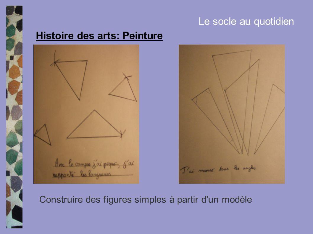 Histoire des arts: Peinture Le socle au quotidien Construire des figures simples à partir d'un modèle