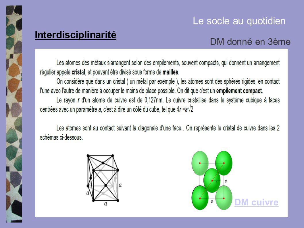 Interdisciplinarité Le socle au quotidien DM donné en 3ème DM cuivre