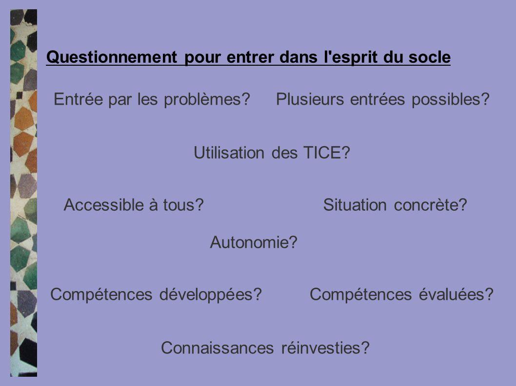 Accessible à tous?Situation concrète? Autonomie? Entrée par les problèmes?Plusieurs entrées possibles? Utilisation des TICE? Compétences développées?C