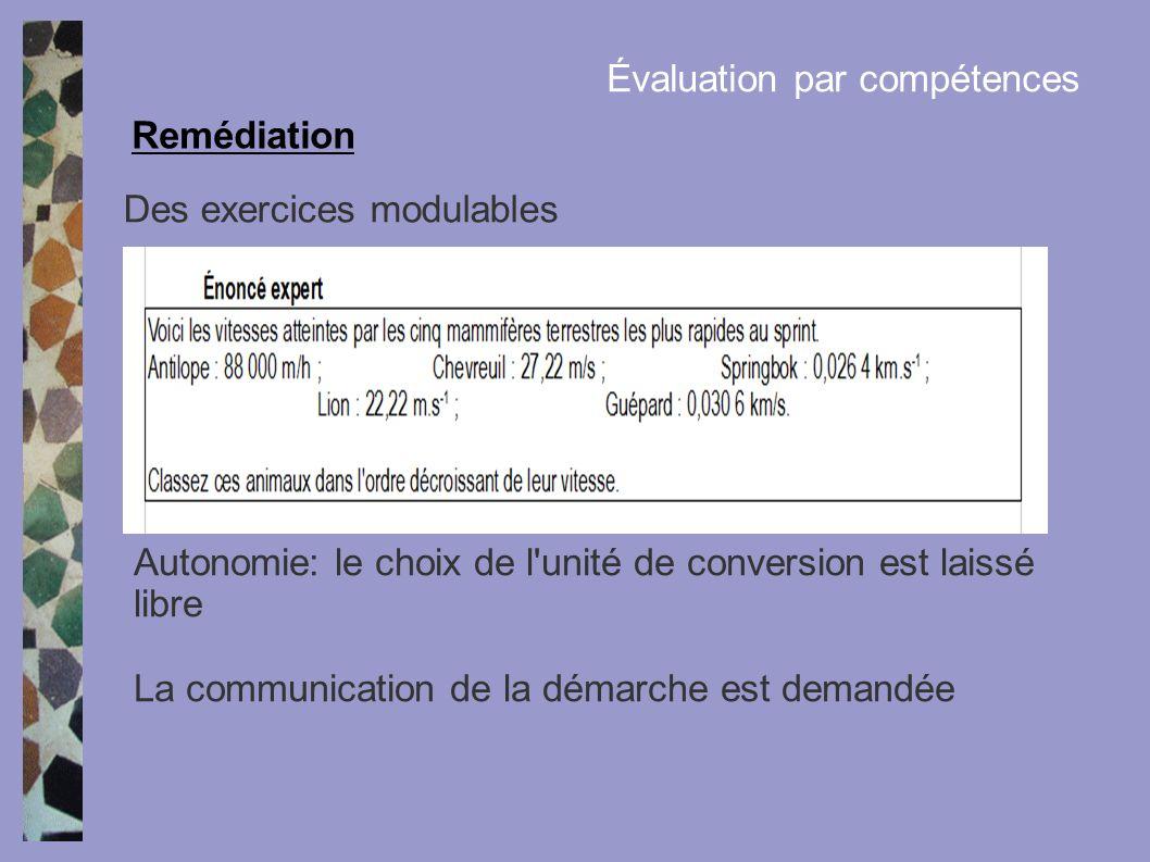Des exercices modulables Remédiation Évaluation par compétences Autonomie: le choix de l'unité de conversion est laissé libre La communication de la d