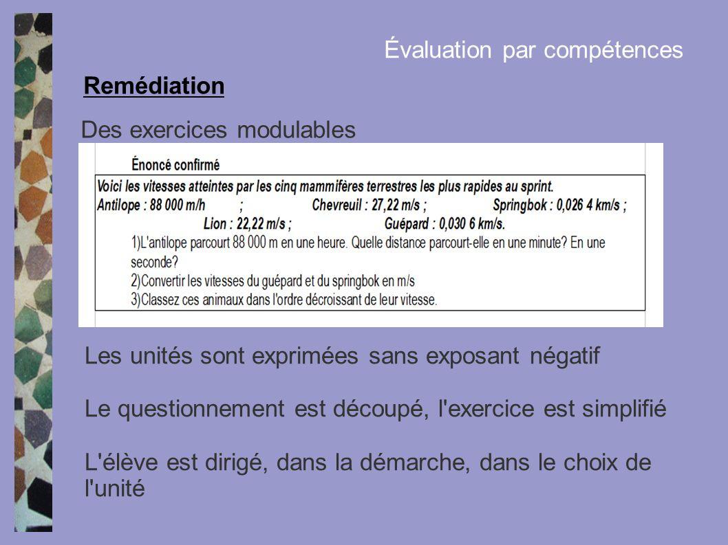 Des exercices modulables Remédiation Évaluation par compétences Les unités sont exprimées sans exposant négatif Le questionnement est découpé, l'exerc