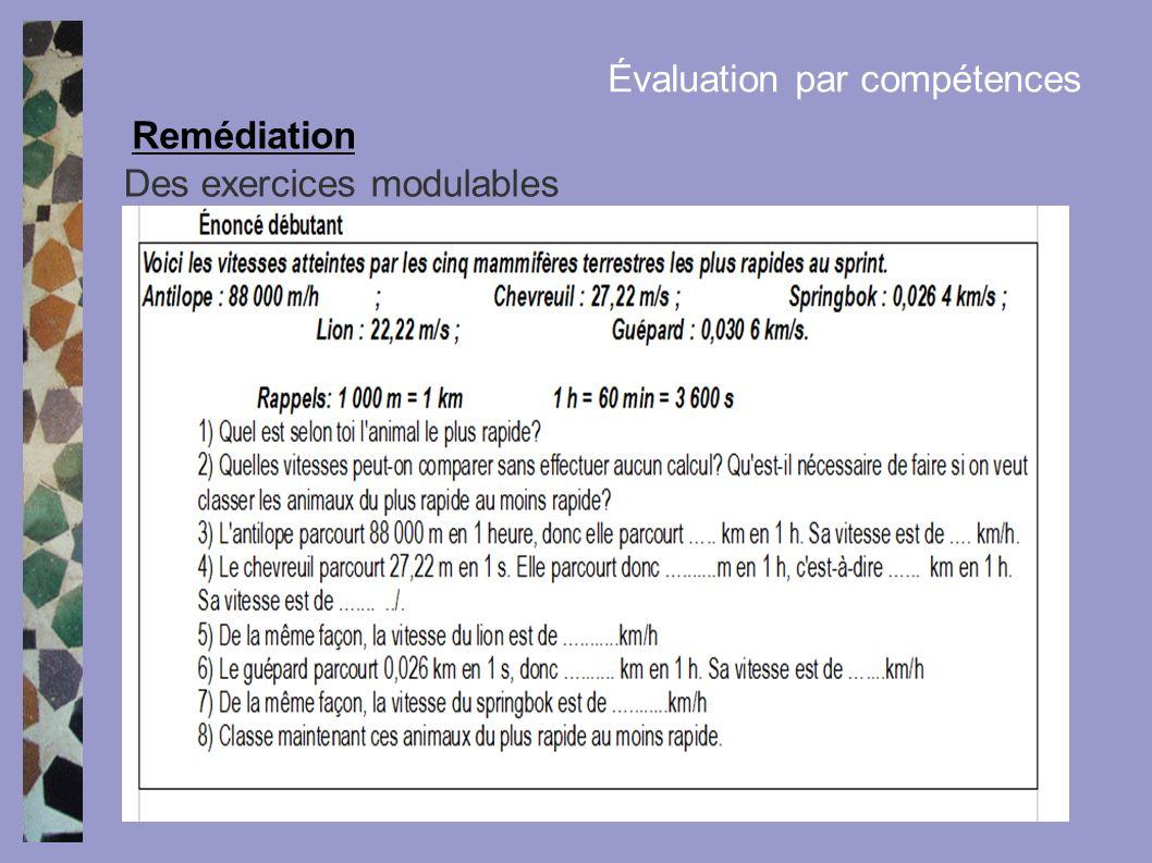 Des exercices modulables Remédiation Évaluation par compétences