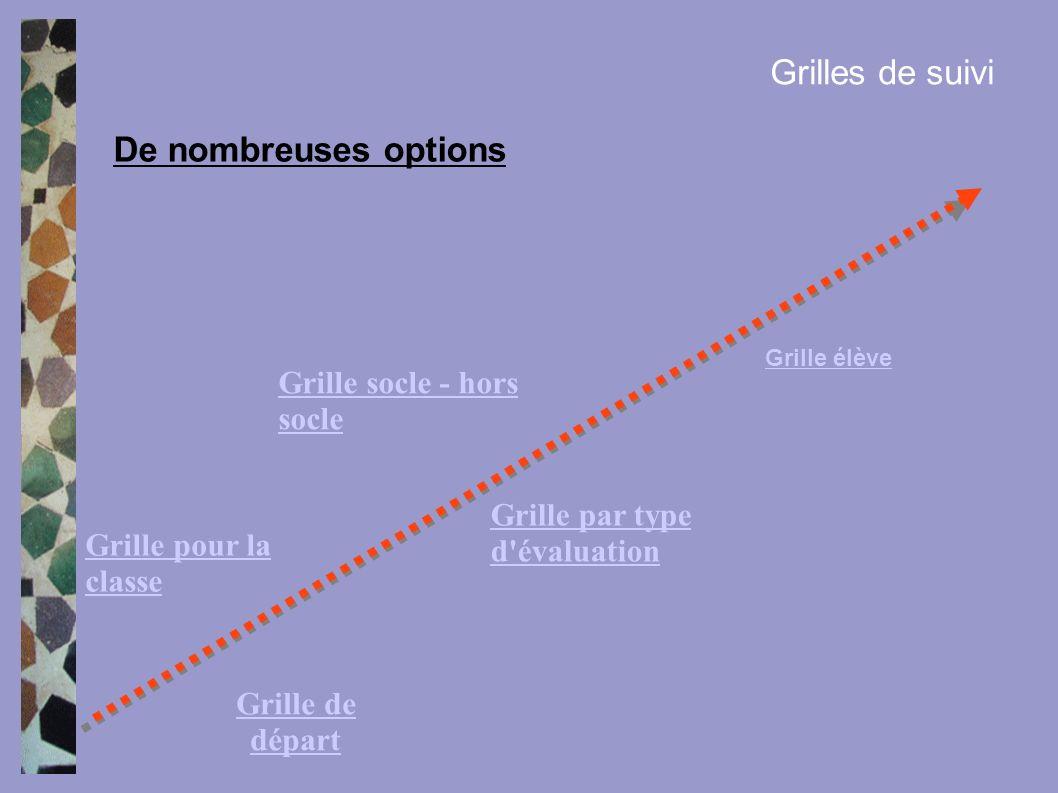 Grilles de suivi De nombreuses options Grille de départ Grille pour la classe Grille par type d'évaluation Grille socle - hors socle Grille élève