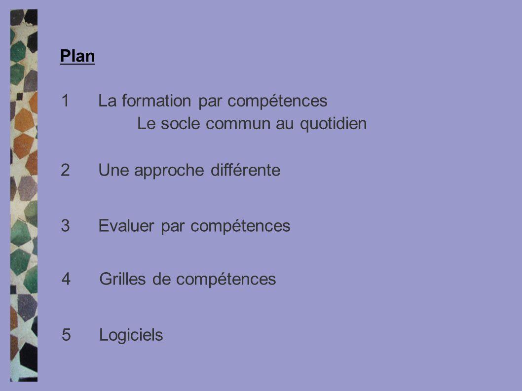 1La formation par compétences Le socle commun au quotidien Plan 2Une approche différente 3Evaluer par compétences 4Grilles de compétences 5Logiciels