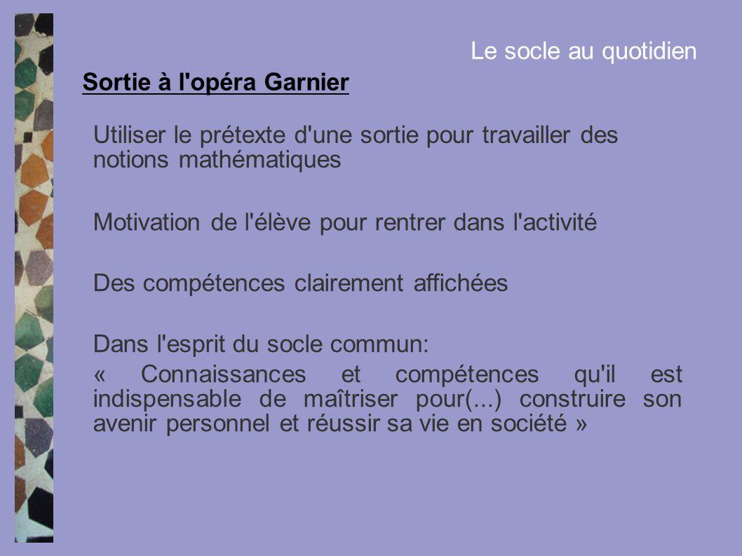 Sortie à l opéra Garnier Le socle au quotidien