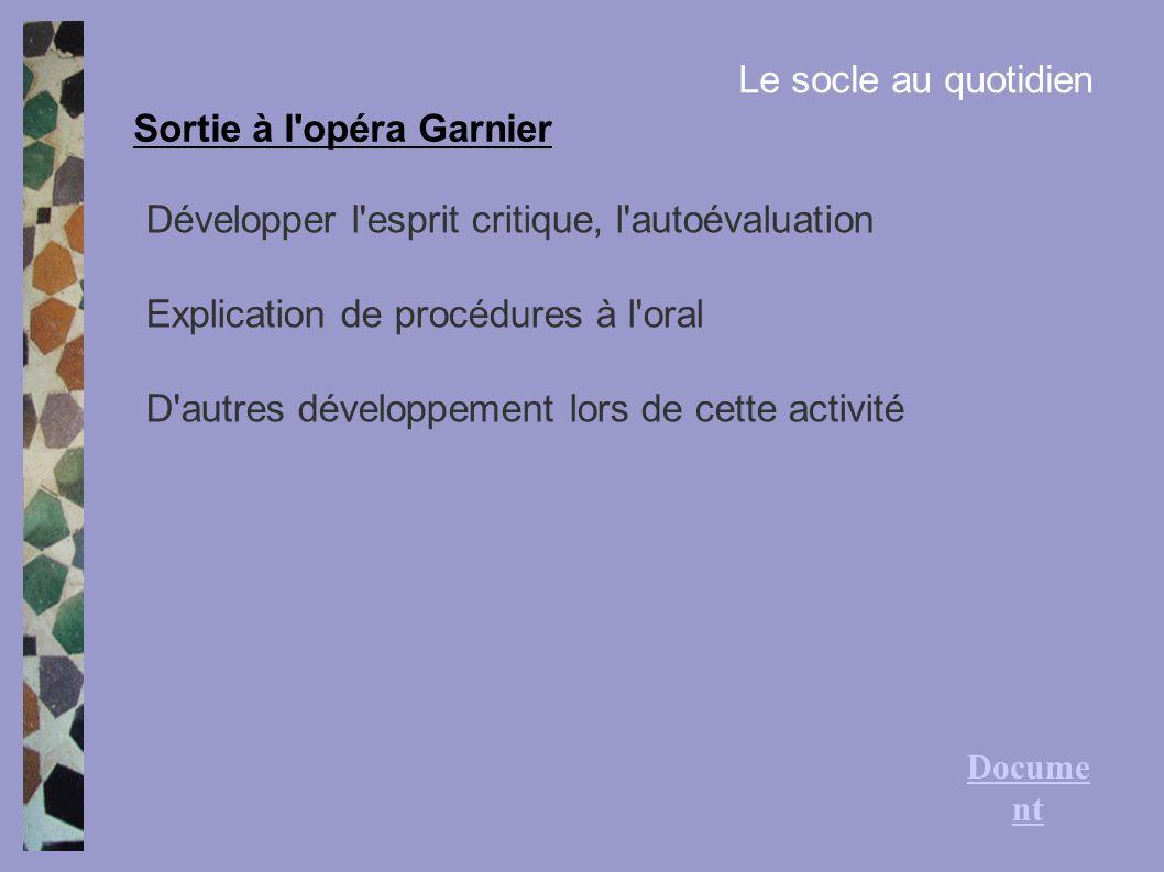 Sortie à l'opéra Garnier Le socle au quotidien Développer l'esprit critique, l'autoévaluation Explication de procédures à l'oral D'autres développemen