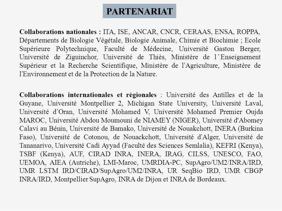 PARTENARIAT Collaborations nationales : ITA, ISE, ANCAR, CNCR, CERAAS, ENSA, ROPPA, Départements de Biologie Végétale, Biologie Animale, Chimie et Bio