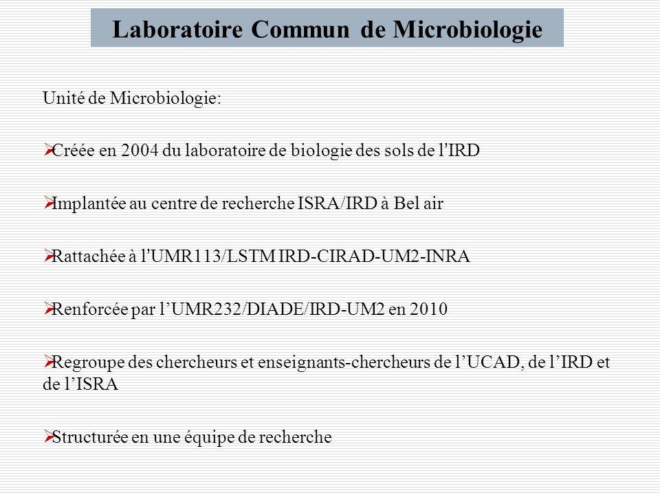 Unité de Microbiologie: Créée en 2004 du laboratoire de biologie des sols de lIRD Implantée au centre de recherche ISRA/IRD à Bel air Rattachée à lUMR