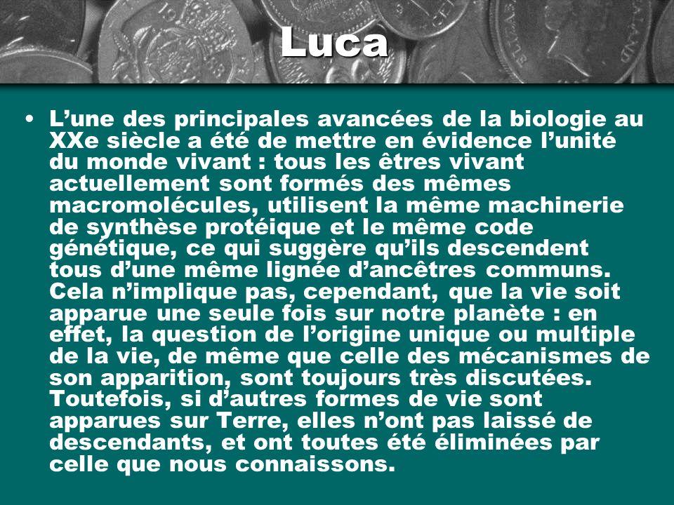 Luca Lune des principales avancées de la biologie au XXe siècle a été de mettre en évidence lunité du monde vivant : tous les êtres vivant actuellemen