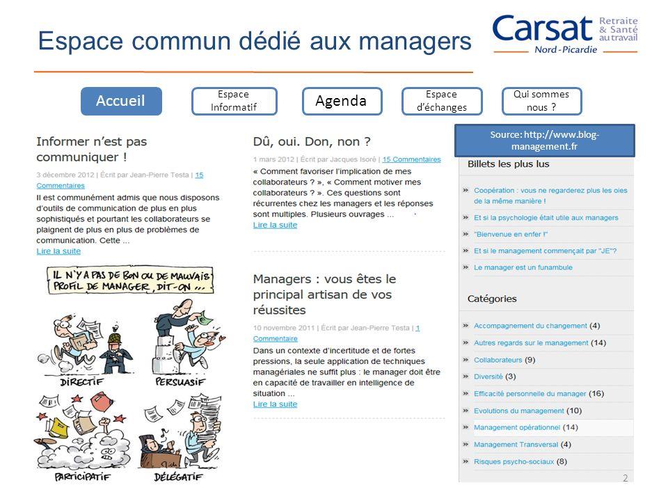 Espace commun dédié aux managers Accueil Espace Informatif Agenda Espace déchanges Qui sommes nous ? Source: http://www.blog- management.fr 2