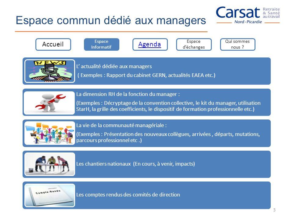 Espace commun dédié aux managers L actualité dédiée aux managers ( Exemples : Rapport du cabinet GERN, actualités EAEA etc.) La dimension RH de la fon