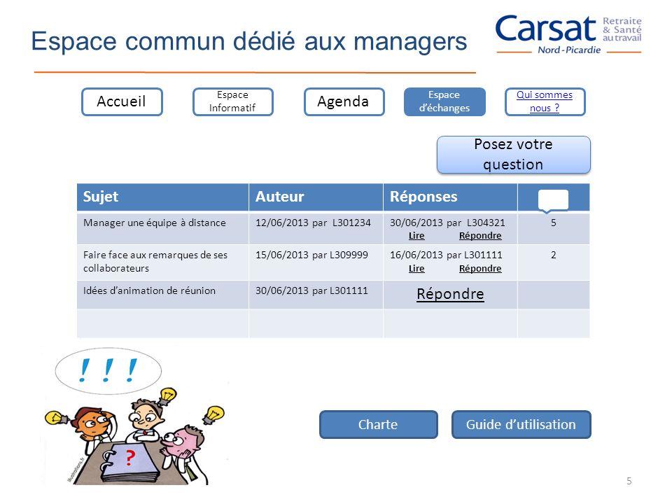 Espace commun dédié aux managers Accueil Espace Informatif Agenda Espace déchanges Qui sommes nous ? Posez votre question SujetAuteurRéponses Manager