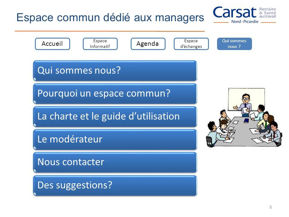 Espace commun dédié aux managers Qui sommes nous?Pourquoi un espace commun?La charte et le guide dutilisationLe modérateurNous contacterDes suggestion