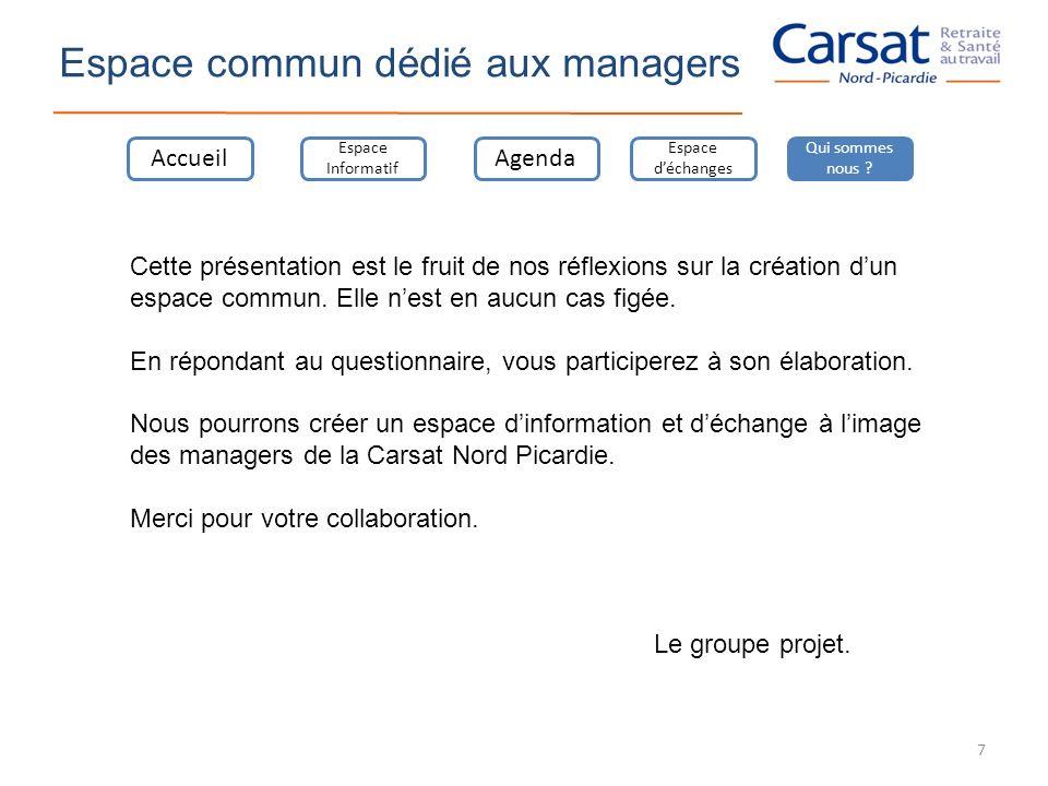 Espace commun dédié aux managers Accueil Espace Informatif Agenda Espace déchanges Qui sommes nous ? Cette présentation est le fruit de nos réflexions