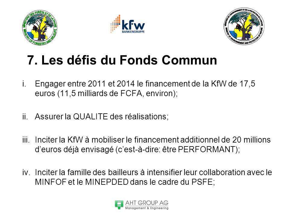 7. Les défis du Fonds Commun i.Engager entre 2011 et 2014 le financement de la KfW de 17,5 euros (11,5 milliards de FCFA, environ); ii.Assurer la QUAL