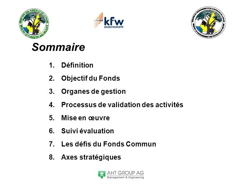 Sommaire 1.Définition 2.Objectif du Fonds 3.Organes de gestion 4.Processus de validation des activités 5.Mise en œuvre 6.Suivi évaluation 7.Les défis