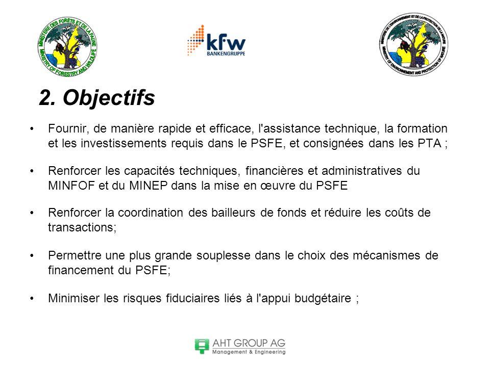 2. Objectifs Fournir, de manière rapide et efficace, l'assistance technique, la formation et les investissements requis dans le PSFE, et consignées da