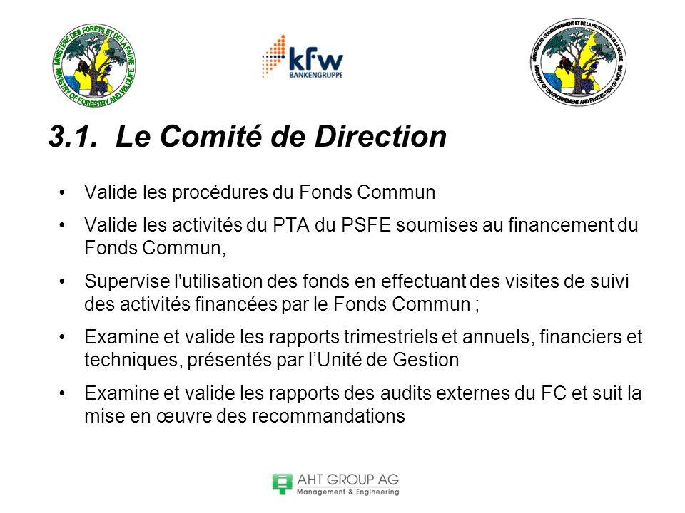 3.1. Le Comité de Direction Valide les procédures du Fonds Commun Valide les activités du PTA du PSFE soumises au financement du Fonds Commun, Supervi