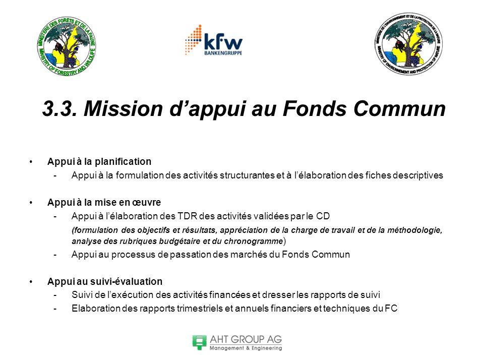 3.3. Mission dappui au Fonds Commun Appui à la planification -Appui à la formulation des activités structurantes et à lélaboration des fiches descript