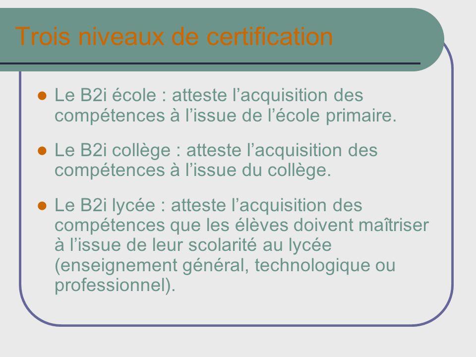 Trois niveaux de certification Le B2i école : atteste lacquisition des compétences à lissue de lécole primaire. Le B2i collège : atteste lacquisition