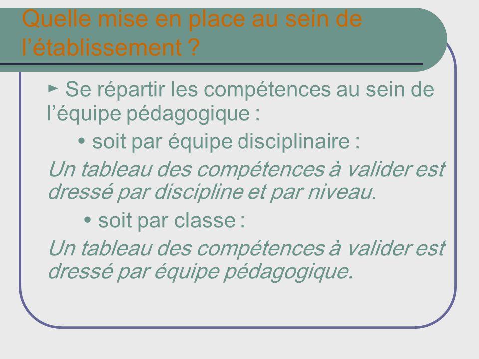 Quelle mise en place au sein de létablissement ? Se répartir les compétences au sein de léquipe pédagogique : soit par équipe disciplinaire : Un table