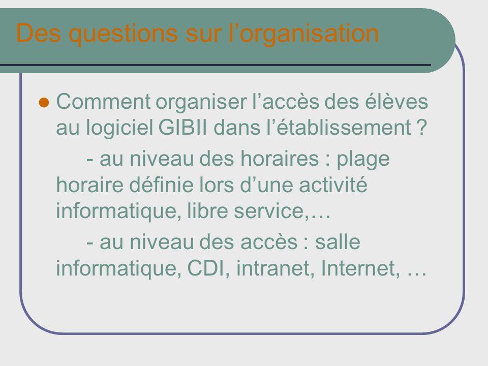 Des questions sur lorganisation Comment organiser laccès des élèves au logiciel GIBII dans létablissement ? - au niveau des horaires : plage horaire d
