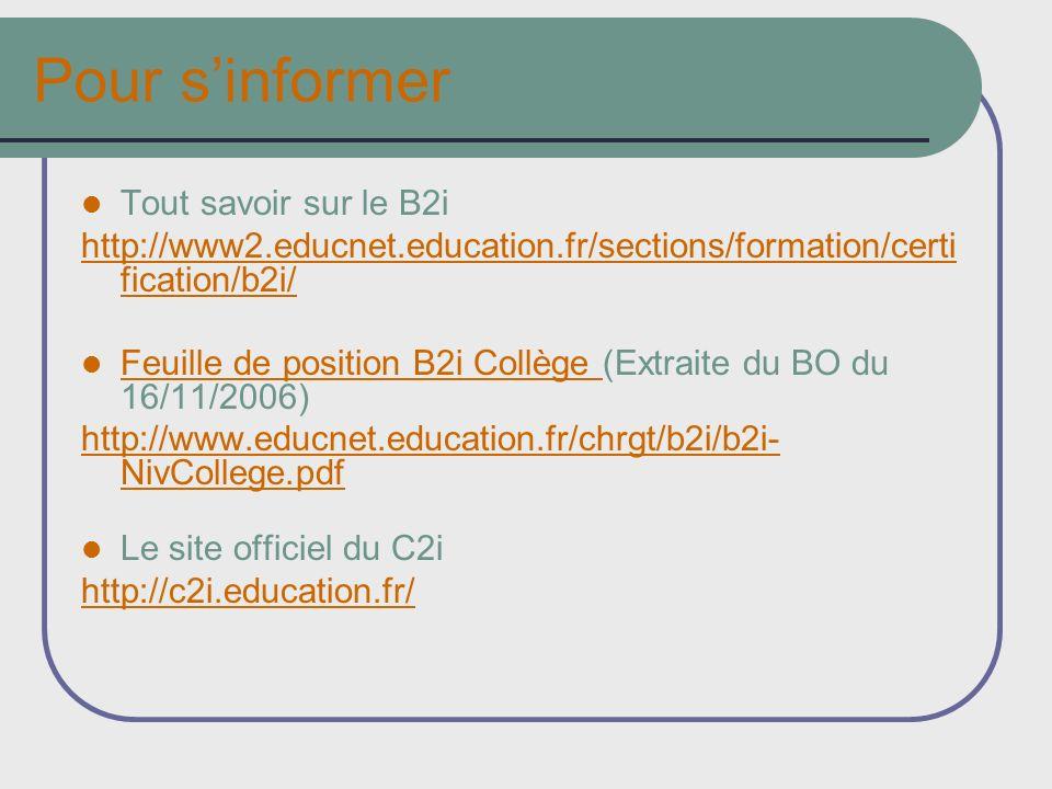 Pour sinformer Tout savoir sur le B2i http://www2.educnet.education.fr/sections/formation/certi fication/b2i/ Feuille de position B2i Collège (Extrait
