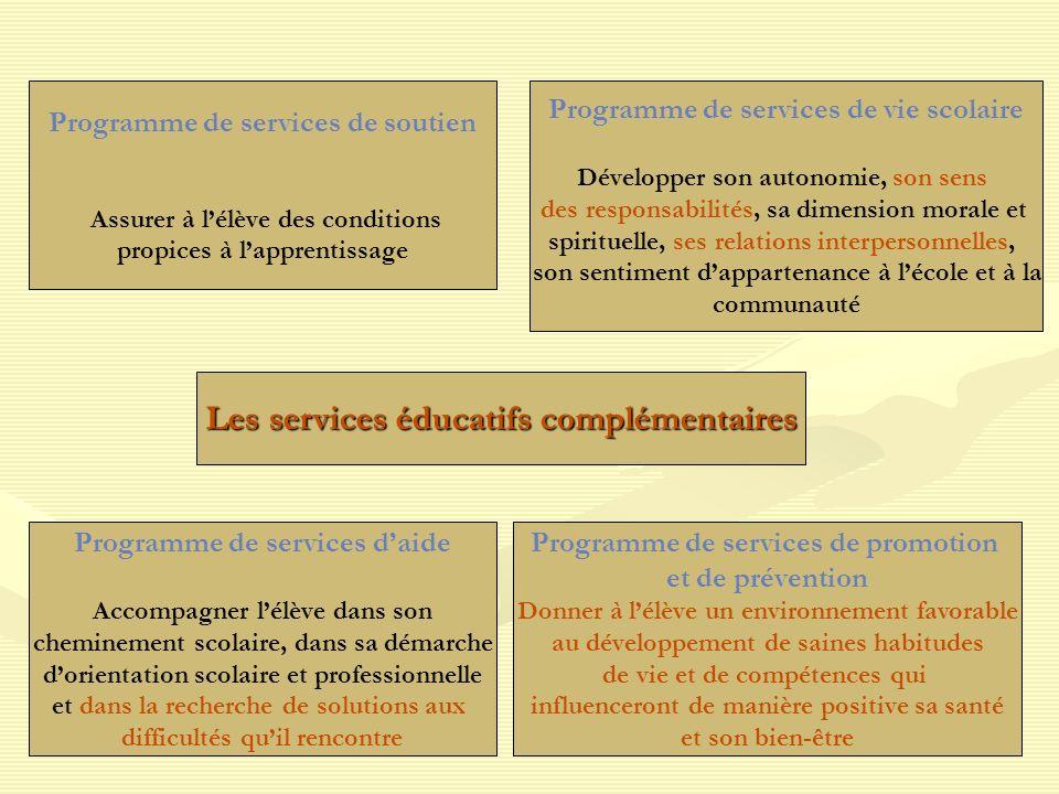 Programme de services de soutien Assurer à lélève des conditions propices à lapprentissage Programme de services de vie scolaire Développer son autono