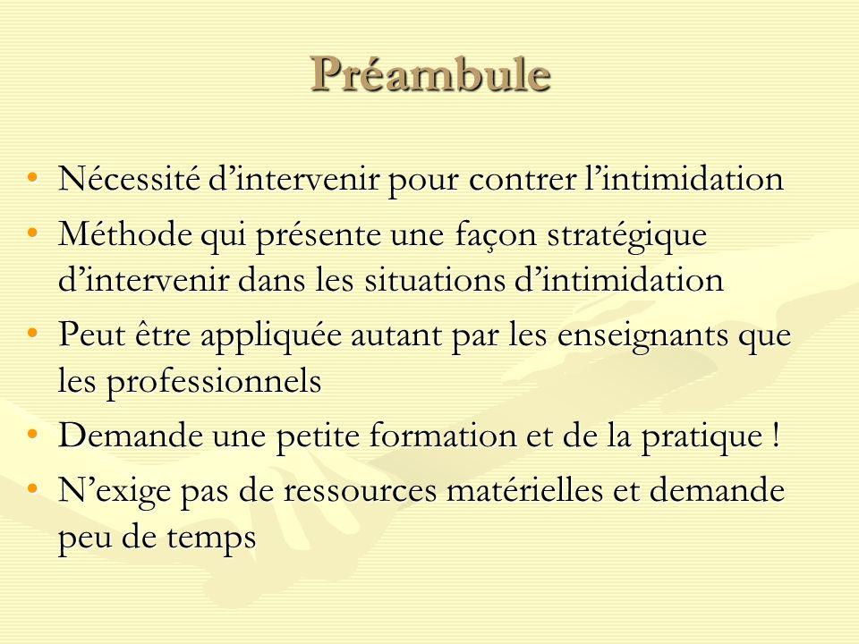 Préambule Nécessité dintervenir pour contrer lintimidationNécessité dintervenir pour contrer lintimidation Méthode qui présente une façon stratégique