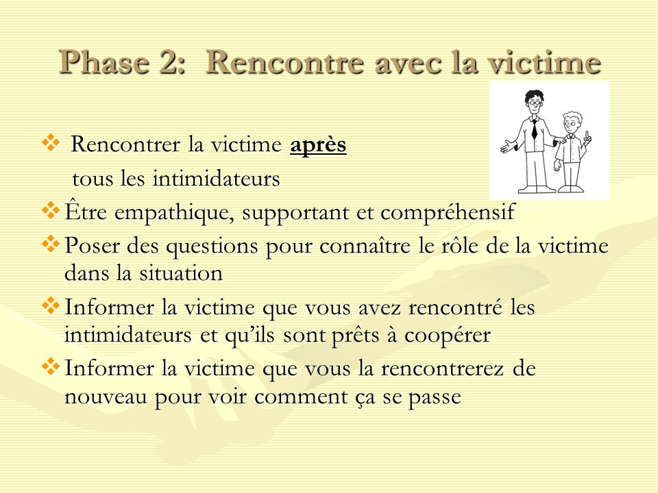Phase 2: Rencontre avec la victime Rencontrer la victime après Rencontrer la victime après tous les intimidateurs tous les intimidateurs Être empathique, supportant et compréhensif Être empathique, supportant et compréhensif Poser des questions pour connaître le rôle de la victime dans la situation Poser des questions pour connaître le rôle de la victime dans la situation Informer la victime que vous avez rencontré les intimidateurs et quils sont prêts à coopérer Informer la victime que vous avez rencontré les intimidateurs et quils sont prêts à coopérer Informer la victime que vous la rencontrerez de nouveau pour voir comment ça se passe Informer la victime que vous la rencontrerez de nouveau pour voir comment ça se passe