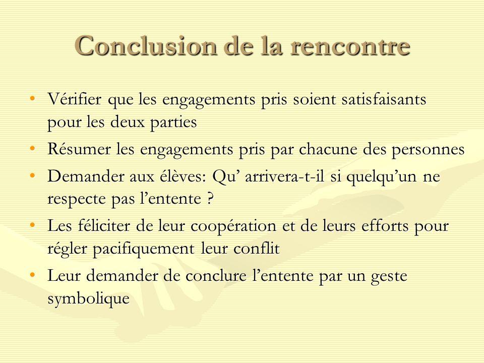 Conclusion de la rencontre Vérifier que les engagements pris soient satisfaisants pour les deux partiesVérifier que les engagements pris soient satisf