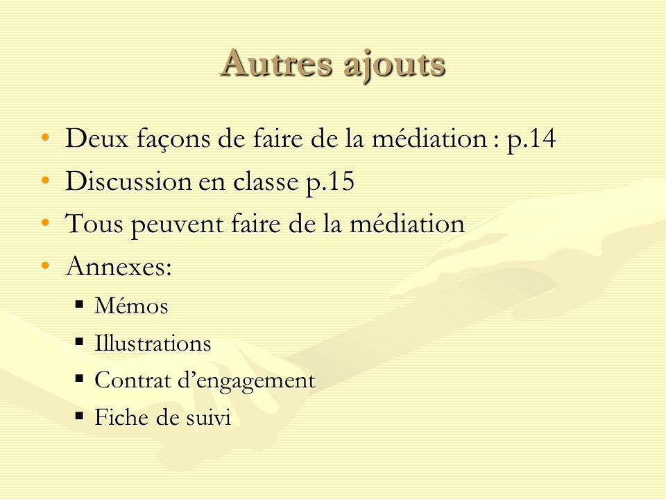 Autres ajouts Deux façons de faire de la médiation : p.14Deux façons de faire de la médiation : p.14 Discussion en classe p.15Discussion en classe p.1