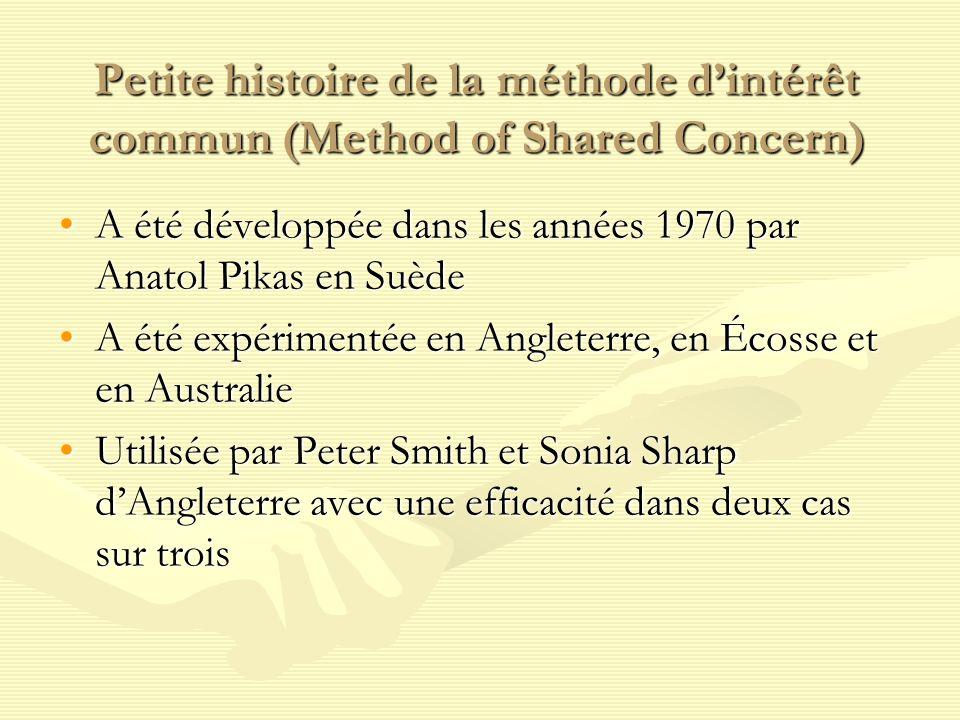 Petite histoire de la méthode dintérêt commun (Method of Shared Concern) A été développée dans les années 1970 par Anatol Pikas en SuèdeA été développ