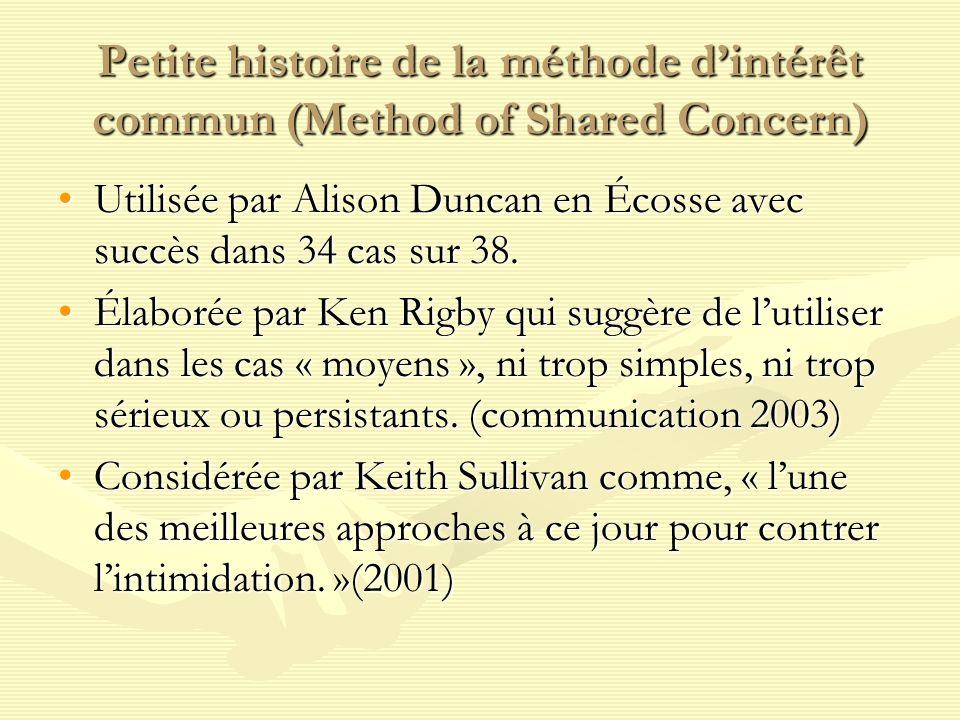 Petite histoire de la méthode dintérêt commun (Method of Shared Concern) Utilisée par Alison Duncan en Écosse avec succès dans 34 cas sur 38.Utilisée par Alison Duncan en Écosse avec succès dans 34 cas sur 38.