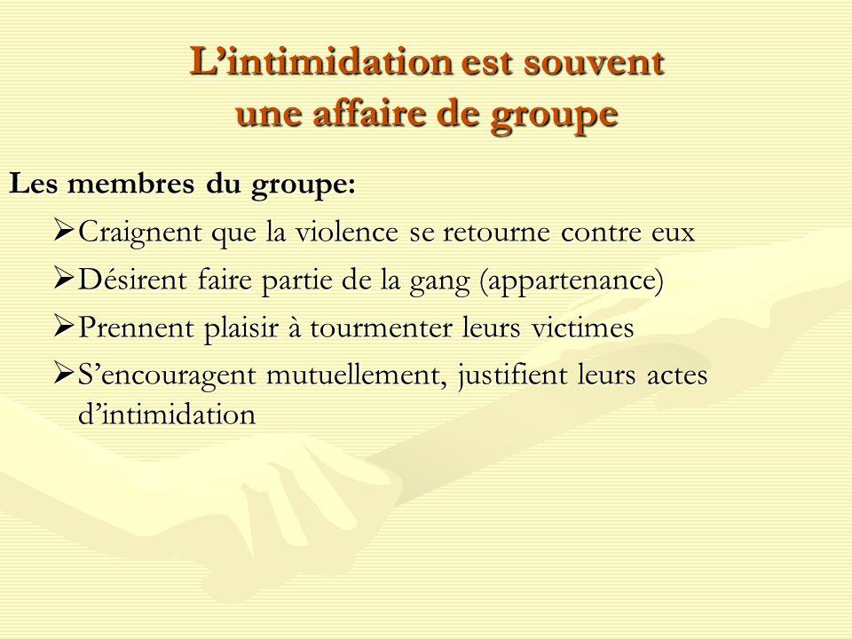 Lintimidation est souvent une affaire de groupe Les membres du groupe: Craignent que la violence se retourne contre eux Craignent que la violence se r