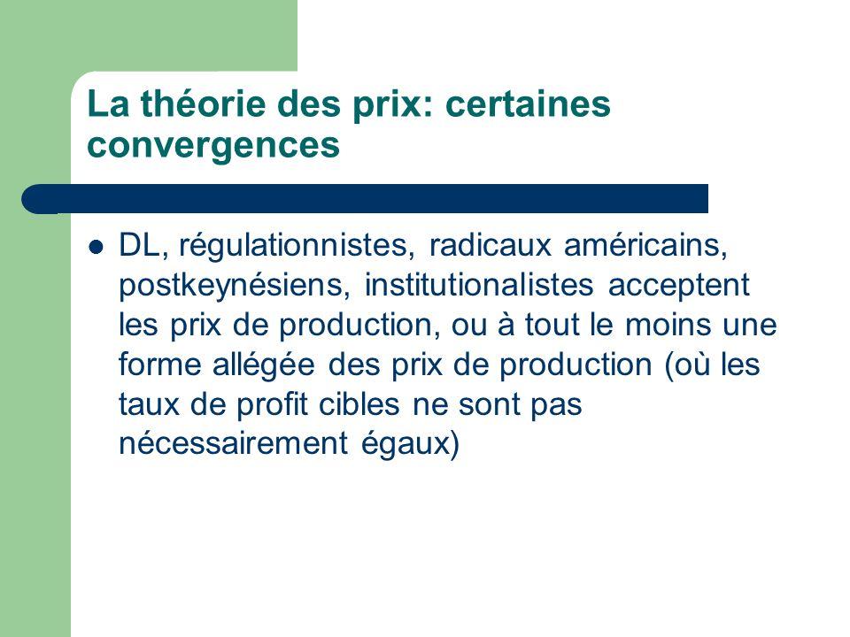 La théorie des prix: certaines convergences DL, régulationnistes, radicaux américains, postkeynésiens, institutionalistes acceptent les prix de produc